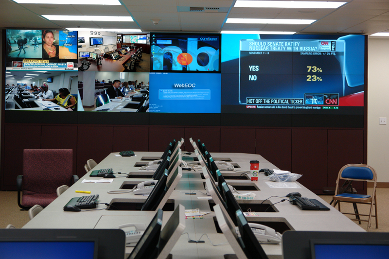 Flip screen Workstations for Emergencuy Management Centers