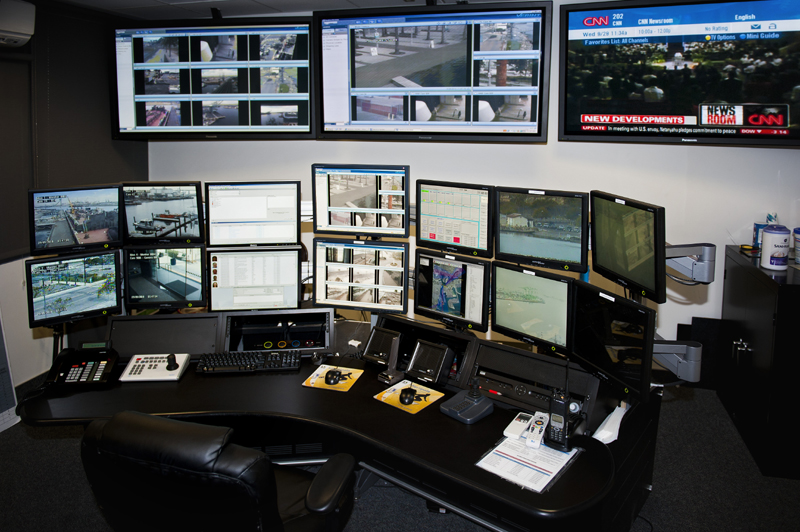 Security consoles offer many options including above worksurface turrets